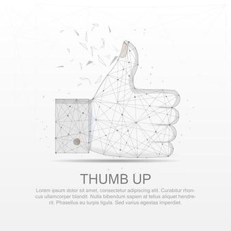Linia siatki kciuka w górę rysowana cyfrowo low poly