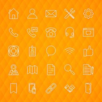 Linia skontaktuj się z nami ikony. ilustracja wektorowa zarys symboli biznesowych na tle wielokąta.