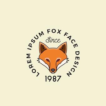 Linia stylu fox face z retro typografią.