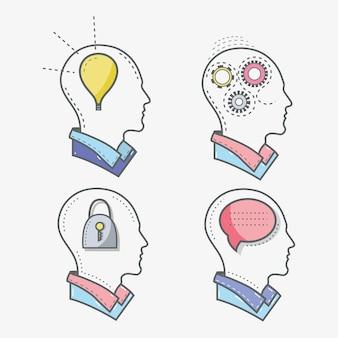 Linia sylwetka głowy pojęcie zdrowia psychicznego