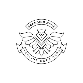 Linia sztuki feniks logo premium wektor