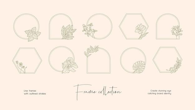 Linia sztuki ilustracji kolekcja dekoracyjnych ramek wektorowych do brandingu lub logo
