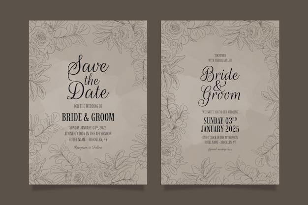 Linia sztuki kwiatowe liście szablon zaproszenia ślubne zestaw z abstrakcyjną dekoracją ramy akwarela