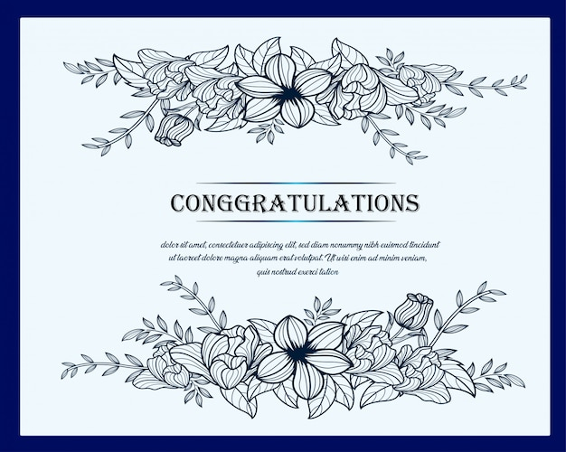 Linia sztuki kwiatowy kartkę z życzeniami, projekt szablonu plakatu