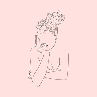 Linia sztuki twarz kobiety z kwiatami. streszczenie minimalna kobieca figura w modnym stylu liniowym. ilustracja wektorowa mody. elegancka sztuka na plakaty, tatuaże, logo, karty, nadruki na koszulki