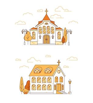 Linia sztuki zestaw domów chrześcijańskich kościołów z drzewami i latarniami