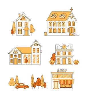 Linia sztuki zestaw domów kościoła i sklepu wektor koncepcji pejzażu