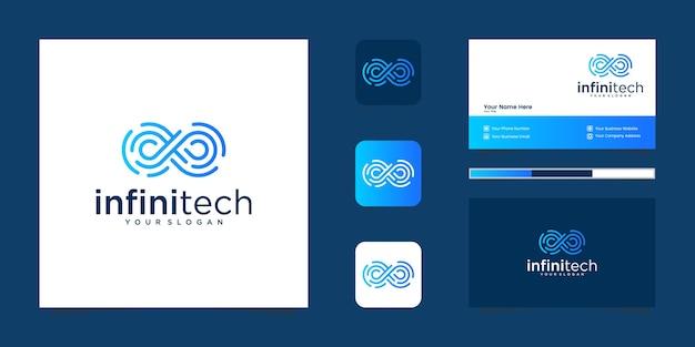 Linia technologiczna creative infinity. nowoczesny projekt logo nieskończoności i biznes