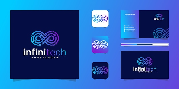 Linia technologiczna creative infinity. nowoczesny projekt logo nieskończoności i wizytówki