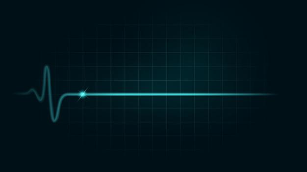 Linia tętna podczas martwego na zielonym wykresie