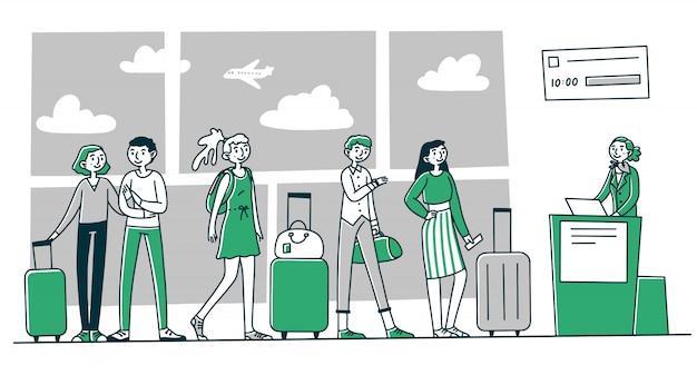 Linia turystów na lotnisku odprawa w kasie