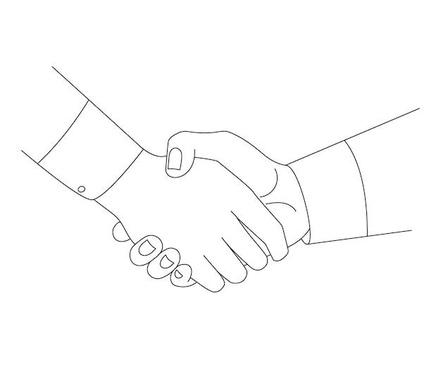 Linia uścisk dłoni szkic ilustracji wektorowych koncepcja partnerstwa.
