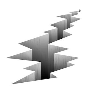 Linia uskoku pęknięcia na ilustracji uziemienia. pęknięcie w ziemi po trzęsieniu ziemi, pęknięcie na powierzchni