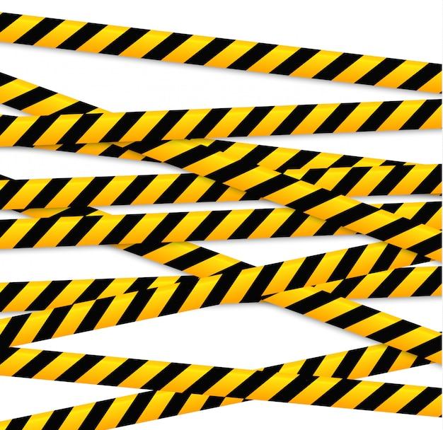 Linie izolacji. realistyczne taśmy ostrzegawcze. znaki niebezpieczeństwa.