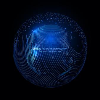 Linie łączące wokoło ziemskiego kuli ziemskiej tła, technologia komunikacyjna dla interneta biznesu.