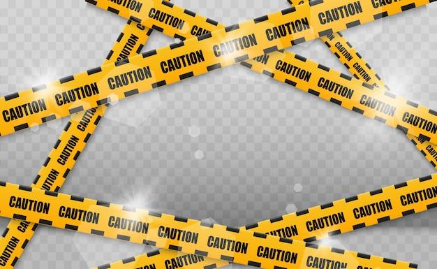Linie na białym tle. taśmy ostrzegawcze. uwaga. znaki ostrzegawcze. ilustracja. żółty z czarną linią policyjną i taśmami ostrzegawczymi. ilustracja.