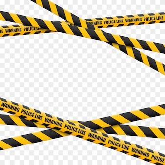 Linie ostrzegawcze na białym tle. taśmy ostrzegawcze.