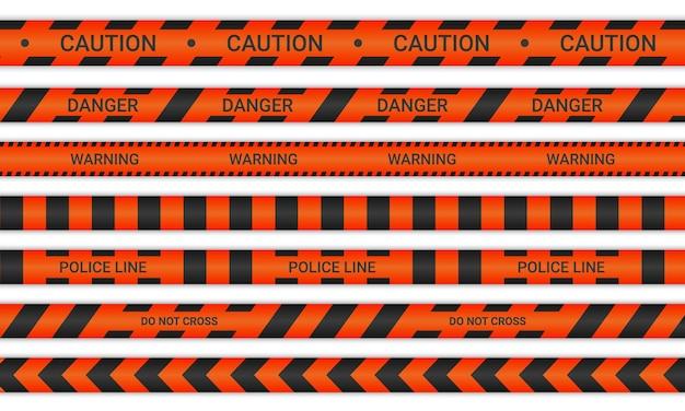 Linie policyjne i nie przekraczaj wstążek. taśmy ostrzegawcze i niebezpieczeństwa w kolorze czerwonym i czarnym. kolekcja znaków ostrzegawczych na białym tle. ilustracja wektorowa.