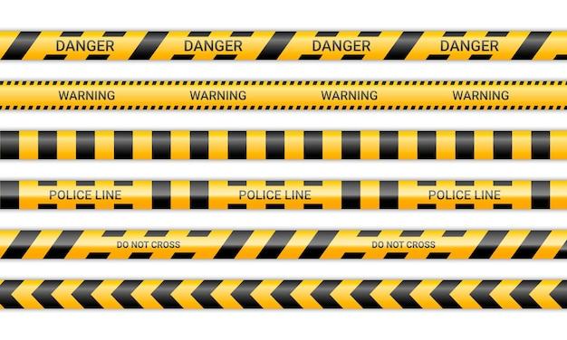 Linie policyjne i nie przekraczaj wstążek. taśmy ostrzegawcze i ostrzegawcze w kolorze żółto-czarnym. kolekcja znaków ostrzegawczych na białym tle. ilustracja wektorowa.