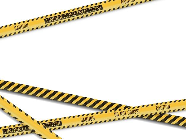 Linie policyjne. miejsce zbrodni. ostrzeżenie o niebezpieczeństwie. ogrodzenie z taśmy brak wejścia.