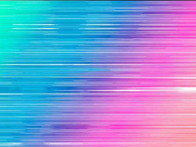Linie prędkości neonowe tło. efekt ruchu przepływu danych. streszczenie ilustracji wektorowych.