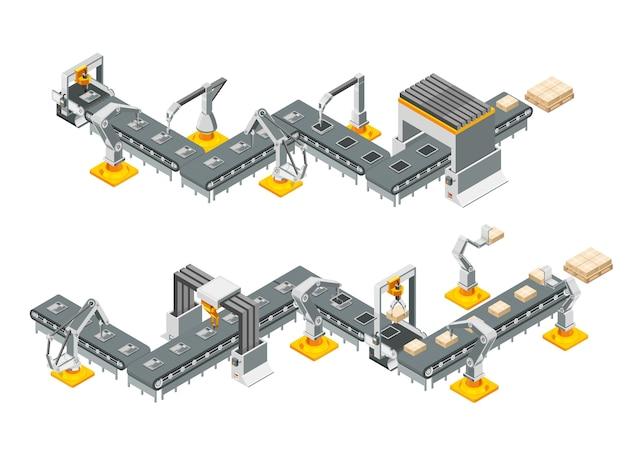 Linie przenośników automatycznej fabryki z ramionami robotów. proces składania. ilustracja