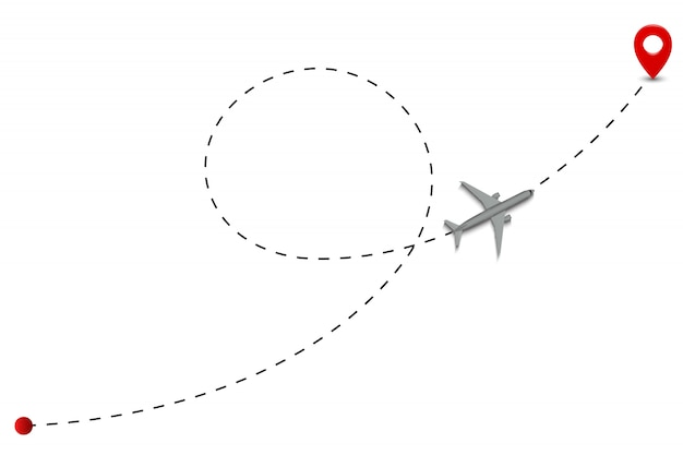 Linie przerywane trasy samolotu.