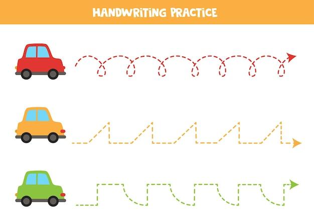 Linie śledzące dla dzieci z kolorowymi samochodami z kreskówek. praktyka pisma ręcznego.