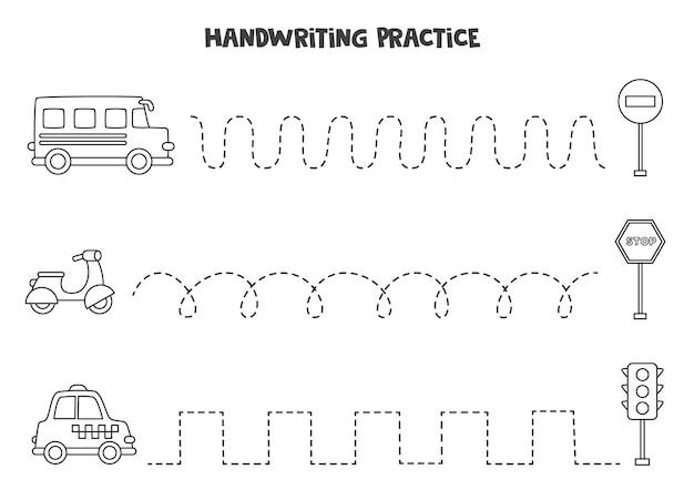 Linie śledzące dla dzieci z uroczymi czarno-białymi środkami transportu. praktyka pisma ręcznego dla dzieci.