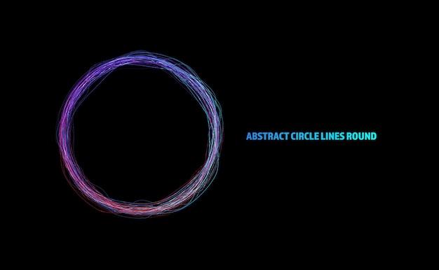 Linie streszczenie koło okrągły pierścień ramki kolorowe tęczy światło płynące na białym tle na czarnym tle z pustej przestrzeni dla tekstu. ilustracja wektorowa