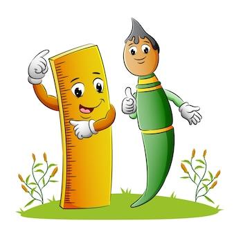 Linijka i pędzel idą razem ilustracji