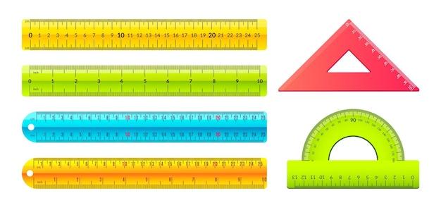 Linijka. rysunkowe narzędzia pomiarowe ze znakami metrycznymi i calowymi, plastikowa taśma centymetrowa o geometrii