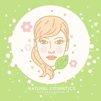 Liniowa etykieta na kosmetyki naturalne. ilustracja głowy dziewczyny z zdrowymi włosami.