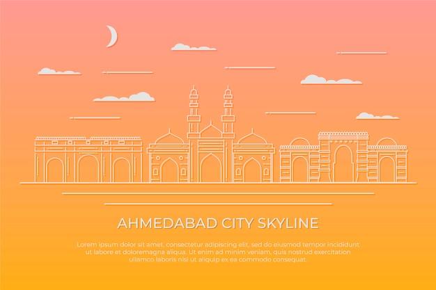 Liniowa ilustracja panoramę ahmedabad