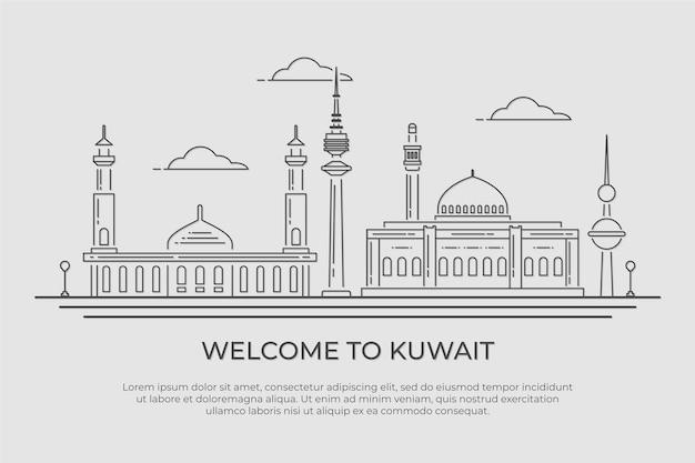 Liniowa ilustracja panoramę kuwejtu
