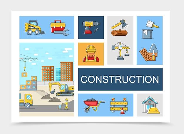 Liniowa kolekcja elementów konstrukcyjnych z skrzynką narzędziową konstruktorzy wiertarek topór żuraw szczotka wiadro kielnia wózek ciężarówka koparka ilustracja placu budowy