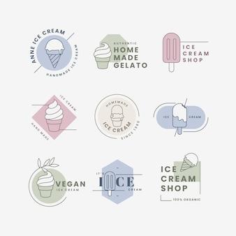 Liniowa kolekcja etykiet płaskich lodów