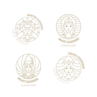 Liniowa kolekcja logo bogini płaskiej