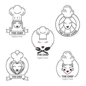 Liniowa kolekcja logo szefa kuchni płaskiej