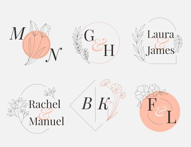 Liniowa kolekcja płaskich monogramów ślubnych