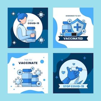 Liniowa kolekcja postów na instagramie z płaską szczepionką