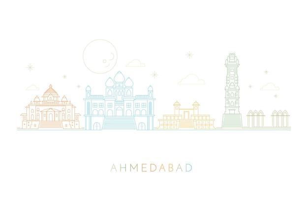 Liniowa koncepcja panoramę ahmedabad
