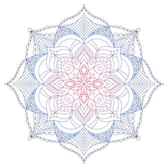 Liniowa ozdobna mandala wykonana w jasnym gradiencie
