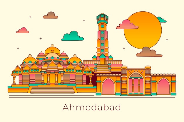 Liniowa panorama ahmedabad