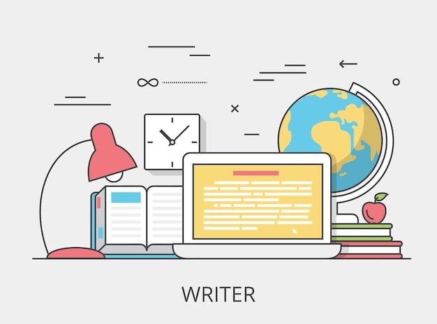 Liniowa płaska ilustracja bohatera strony internetowej usługi pisarza copywriting. narzędzia usług cyfrowych i koncepcja technologii. laptop, książka, interfejs oprogramowania do edycji tekstu.