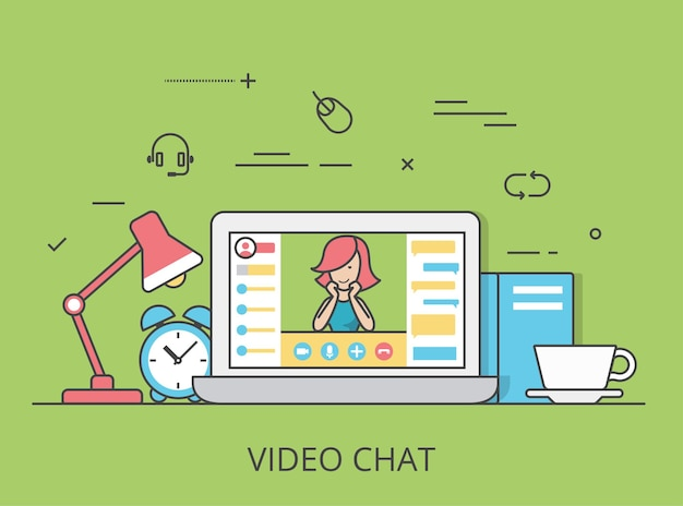 Liniowa płaska ilustracja obrazu bohatera witryny internetowej konferencji wideo czatu. technologia komunikacji i koncepcja oprogramowania. laptop z aktywną sesją interfejsu wideoczatu na ekranie.