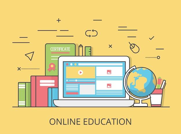 Liniowa płaska ilustracja obrazu strony internetowej edukacji bohatera. edukacja i wiedza, zdalny samouczek i koncepcja kursu. laptop z interfejsem kursów wideo na ekranie, certyfikatem i książkami