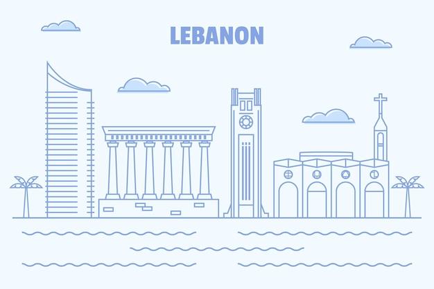 Liniowa płaska linia horyzontu libanu
