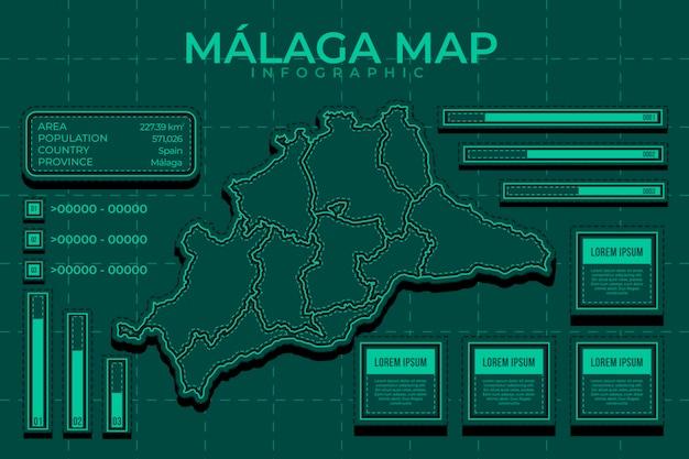 Liniowa płaska mapa malaga