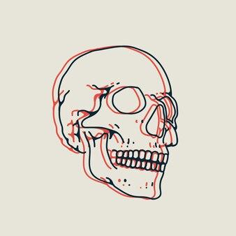 Liniowa ręcznie rysowana ilustracja czaszki z efektem stereo na białym tle